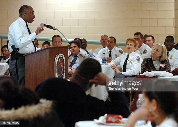 DeMatha High School in Hyattsville Md Prince George's Police from District 1 hold a community meeting to inform the public about crimes in their...
