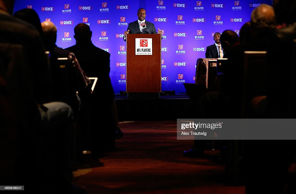 DeMaurice Smith, Executive Director of the National Football League Players Association, speaks during an NFLPA press conference prior to Super Bowl XLVIII on January 30, 2014 in New York City.