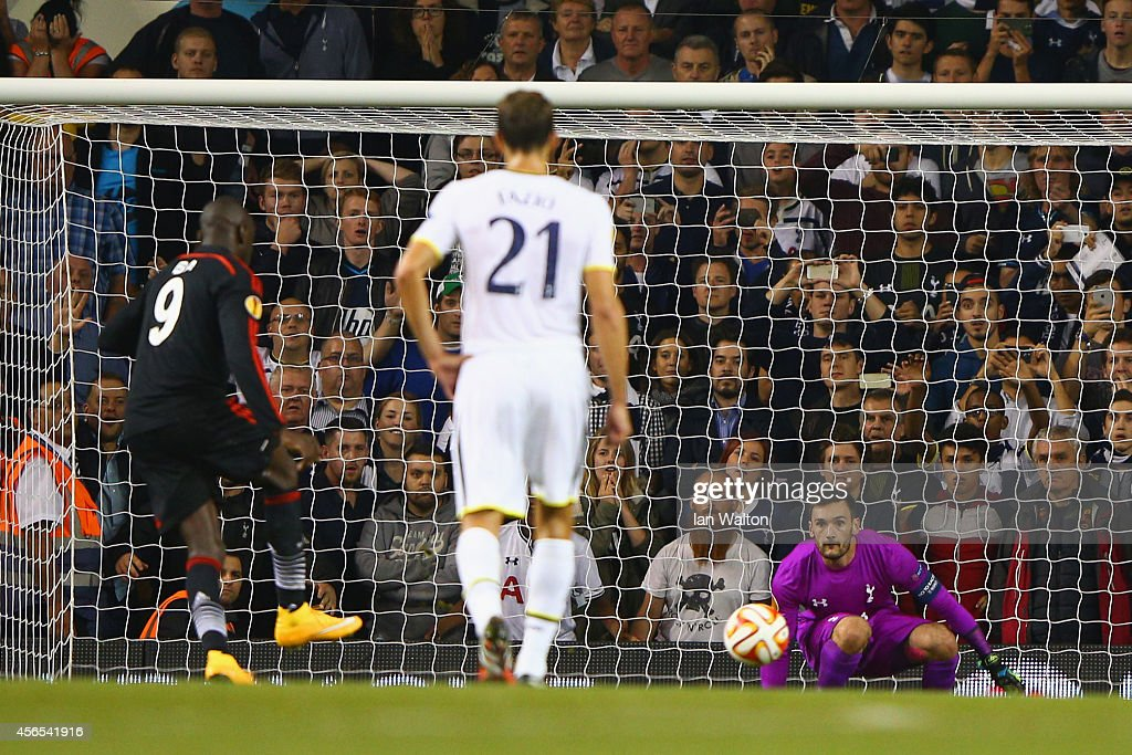 Demba Ba of Besiktas scores the equalising goal past Hugo Lloris of Spurs during the UEFA Europa League Group C match between Tottenham Hotspur FC and Besiktas JK at White Hart Lane on October 2, 2014 in London, United Kingdom.