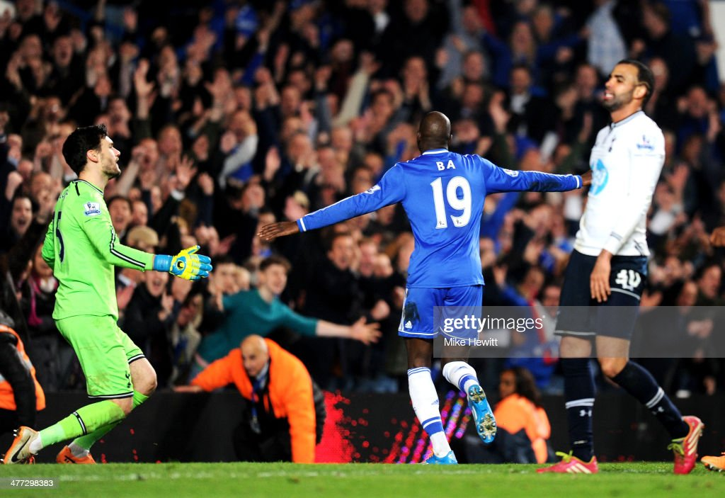 Demba Ba of Chelsea celebrates after scoring his team's third goal during the Barclays Premier League match between Chelsea and Tottenham Hotspur at Stamford Bridge on March 8, 2014 in London, England.
