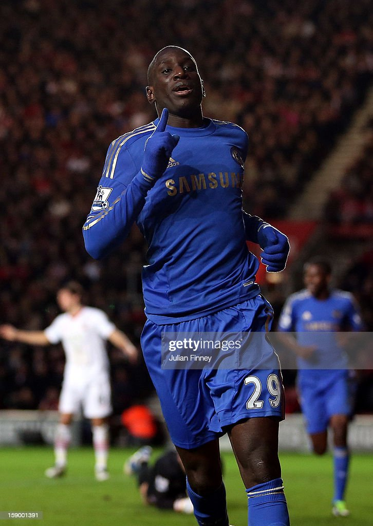 Demba Ba of Chelsea celebrates scoring his first and his teams fourth goal during the FA Cup Third Round match between Southampton and Chelsea at St Mary's Stadium on January 5, 2013 in Southampton, England.