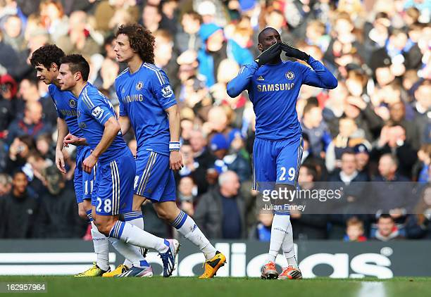 Demba Ba of Chelsea celebrates the opening goal during the Barclays Premier League match between Chelsea and West Bromwich Albion at Stamford Bridge...