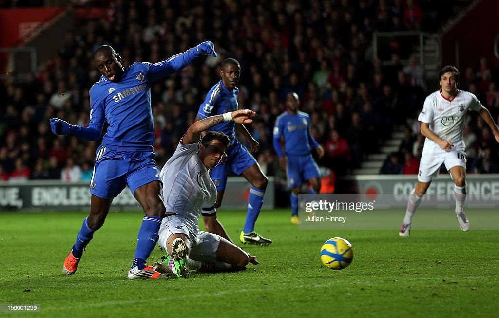 Demba Ba of Chelsea scores his second and his team's fourth goal during the FA Cup Third Round match between Southampton and Chelsea at St Mary's Stadium on January 5, 2013 in Southampton, England.