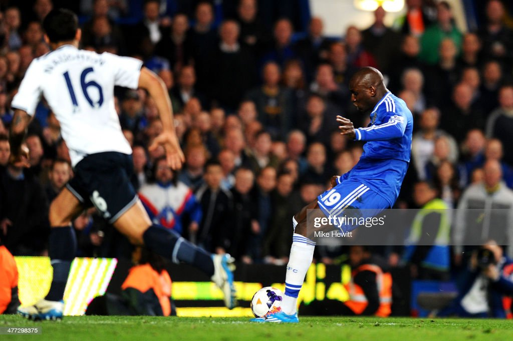 Demba Ba of Chelsea scores his team's third goal during the Barclays Premier League match between Chelsea and Tottenham Hotspur at Stamford Bridge on March 8, 2014 in London, England.