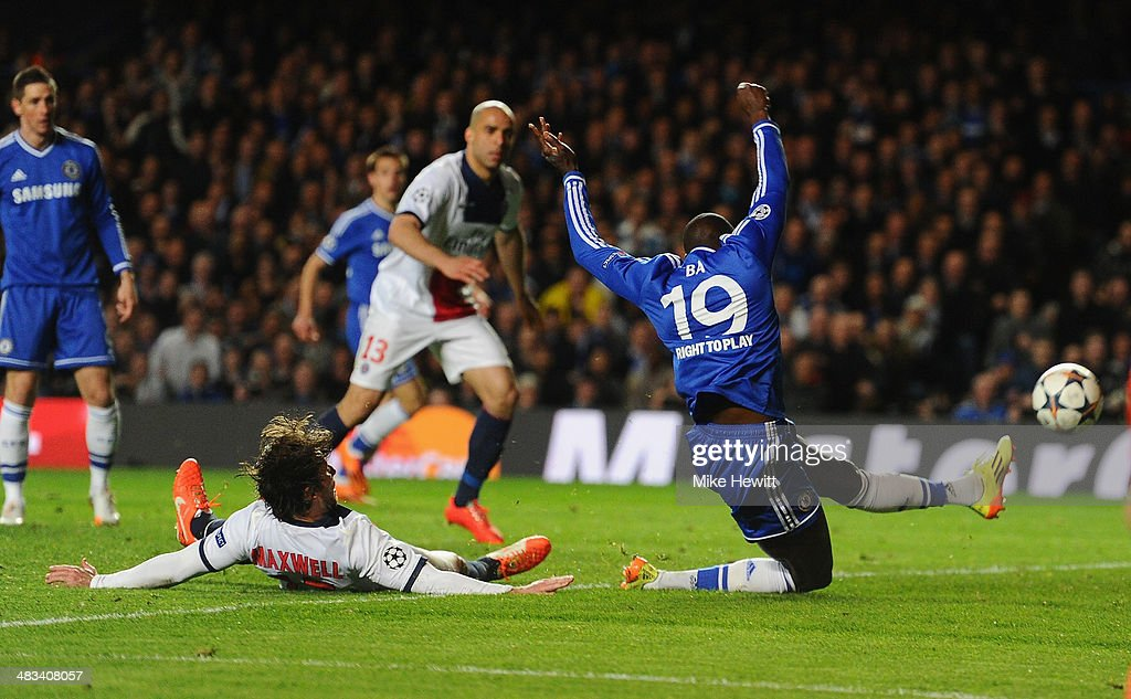 Demba Ba of Chelsea scores their second goal during the UEFA Champions League Quarter Final second leg match between Chelsea and Paris Saint-Germain FC at Stamford Bridge on April 8, 2014 in London, England.