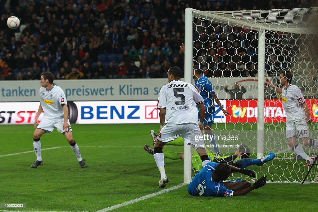 Demba Ba (2nd R) of Hoffenheim reacts after scoring his second team goal during the Bundesliga match between 1899 Hoffenheim and Borussia Moenchengladbach at Rhein-Neckar Arena on October 17, 2010 in Sinsheim, Germany.