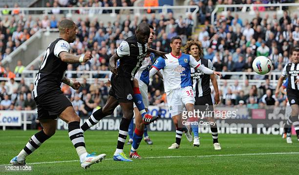 Demba Ba of Newcastle scores his team's second goal during the Barclays Premier League match between Newcastle United and Blackburn Rovers at St...