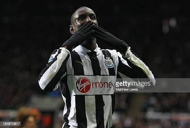 Demba Ba of Newcastle United celebrates his goal during the Barclays Premier League match between Newcastle United and West Bromwich Albion at St...