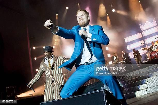 Demba 'Boundzound' Nabe and Peter Fox, singer of the band Seeed perform live during the Peace X Peace Festival at the Waldbuehne on June 5, 2016 in...
