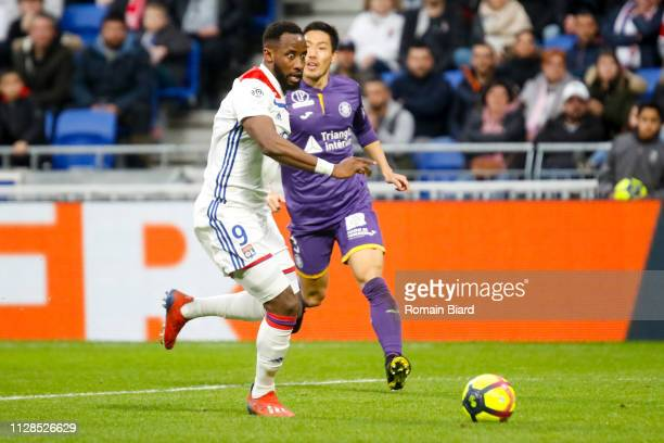 Dembele Moussa of Lyon and Shoji Gen Of Toulouse during the Ligue 1 match between Olympique Lyonnais and Toulouse FC on March 3, 2019 in Lyon, France.