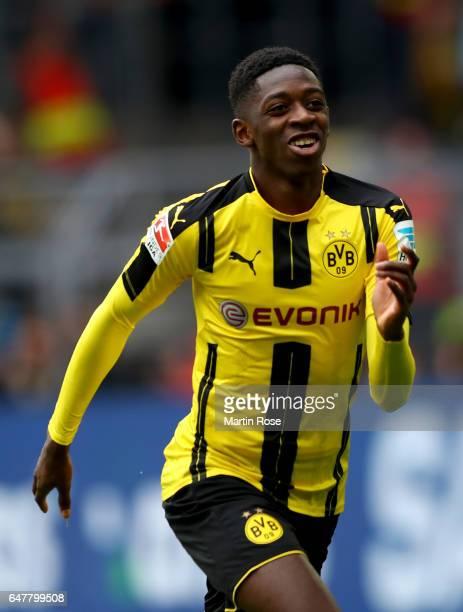 Dembele of Dortmund celebrates after he scores the opening goal during the Bundesliga match between Borussia Dortmund and Bayer 04 Leverkusen at...