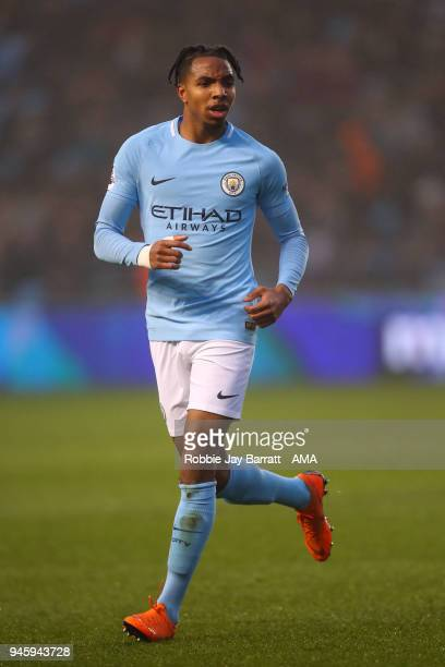 Demeaco Duhaney of Manchester City during the Premier League 2 match at Manchester City Football Academy on April 13 2018 in Manchester England