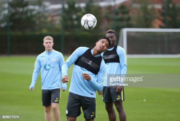 Demeaco Duhaney of Manchester City keeps the ball up in training