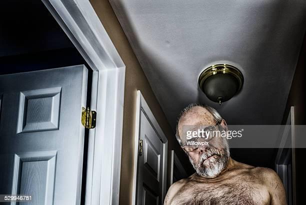 Demented Senior Man Staring At Camera