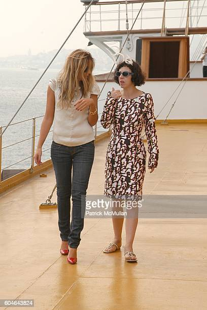 Demet Muftuoglu and Isabella Blow attend ZAC POSEN at VAKKO Brunch Cruise at Savarona Yacht on September 30 2006 in Istanbul Turkey