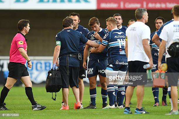Demetri Catrakilis of Montpellier is injured during the Top 14 rugby match between Montpellier Rugby and Castres Olympique on October 8 2016 in...