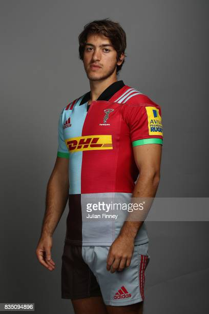 Demetri Catrakilis of Quins poses for a portrait during the Harlequins photocall for the 20172018 Aviva Premiership Rugby season at The Stoop on...