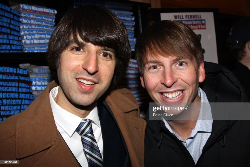 Demetri Martin and Jack McBrayer attend the opening night of 'You're Welcome America. A Final Night with George W. Bush' at the Cort Theater on February 5, 2009 in New York City.