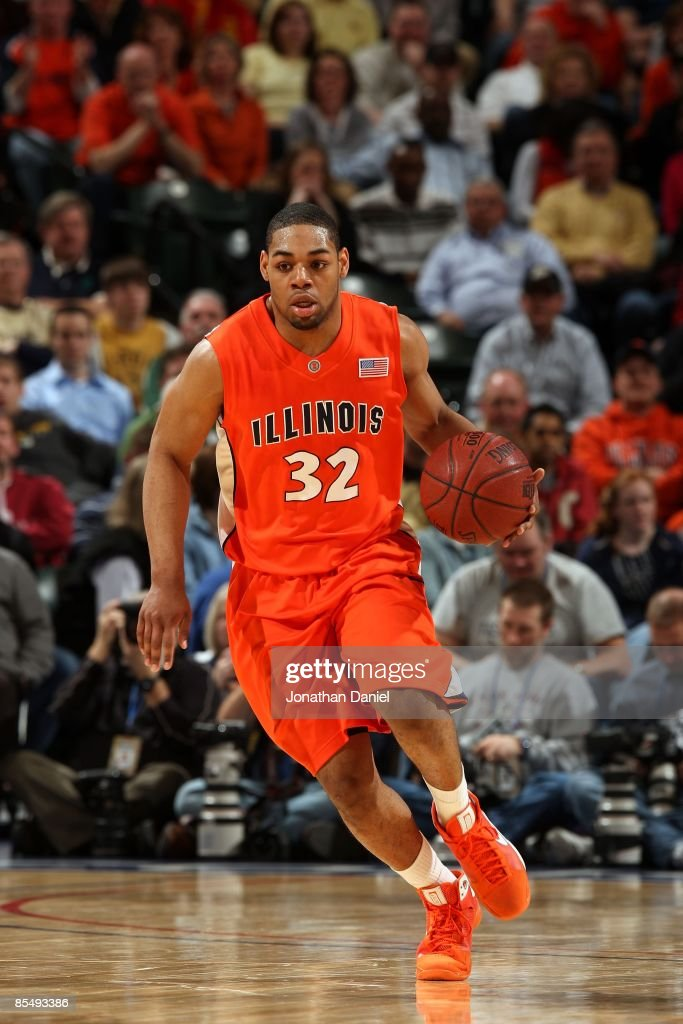 Demetri McCamey 32 Of The Illinois Fighting Illini Brings Ball Up Court Against