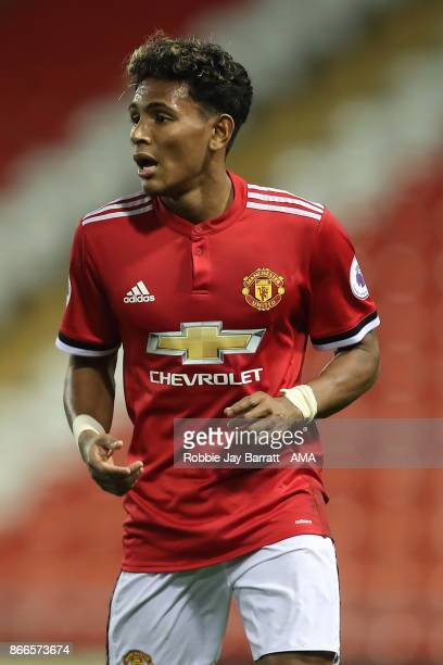 Demetri Mitchell of Manchester United during the Premier League 2 fixture between Manchester United and Liverpool at Leigh Sports Village on October...