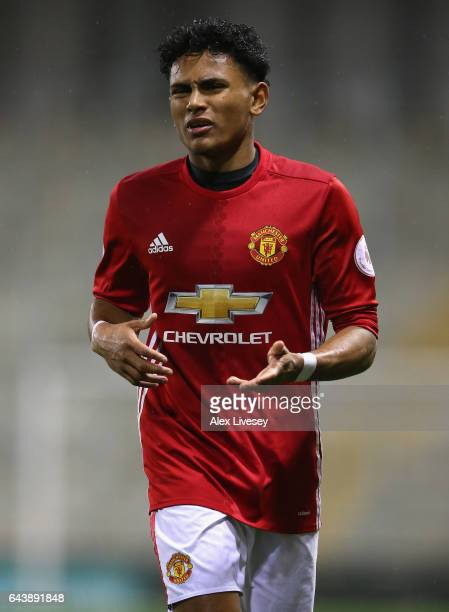 Demetri Mitchell of Manchester United during the Premier League International Cup Quarter Final match between Manchester United U23 and Porto B at...