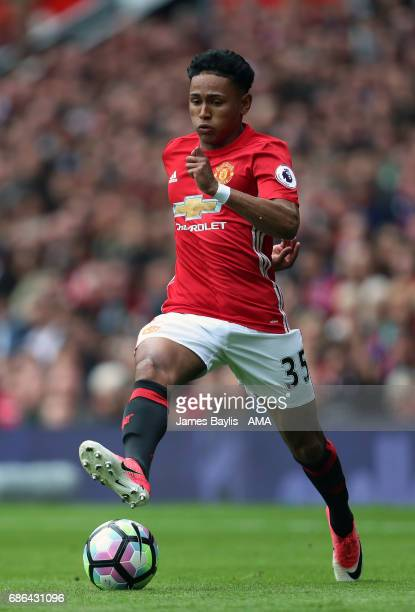 Demetri Mitchell of Manchester United during the Premier League match between Manchester United and Crystal Palace at Old Trafford on May 21 2017 in...