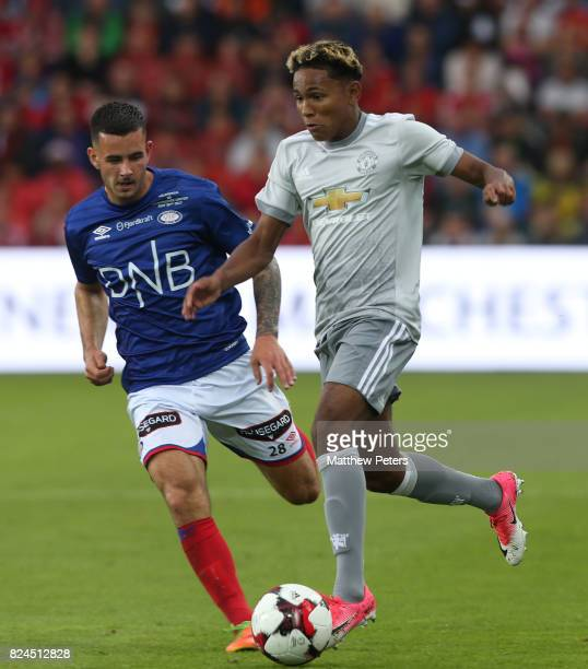 Demetri Mitchell of Manchester United in action during the preseason friendly match between Valerenga and Manchester United at Ullevaal Stadion on...