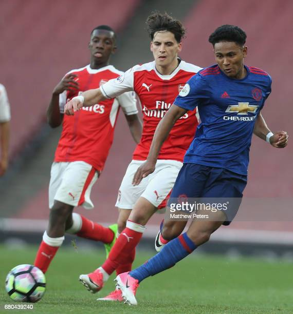 Demetri Mitchell of Manchester United U23s in action during the Premier League 2 match between Arsenal U23s and Manchester United U23s at Emirates...