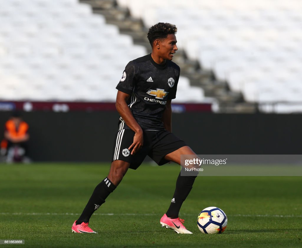 Demetri Mitchell of Manchester United's Under 23 during Premier League 2 Division 1 match between West Ham United Under 23s and Manchester United Under 23s at London Stadium, London , England on 15 Oct 2017.