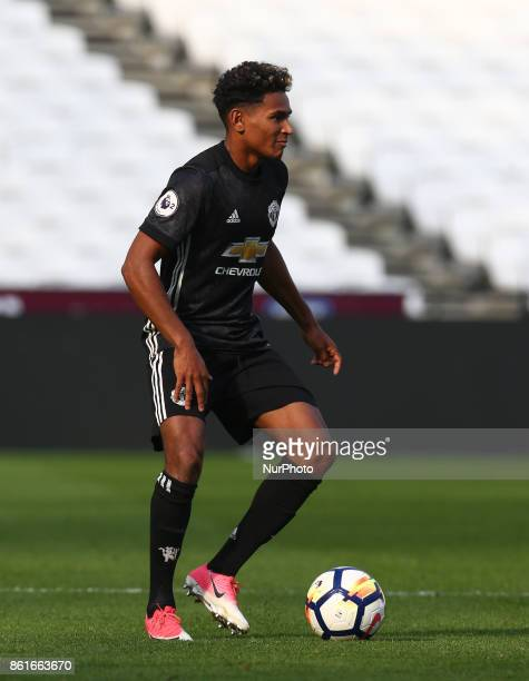 Demetri Mitchell of Manchester United's Under 23 during Premier League 2 Division 1 match between West Ham United Under 23s and Manchester United...