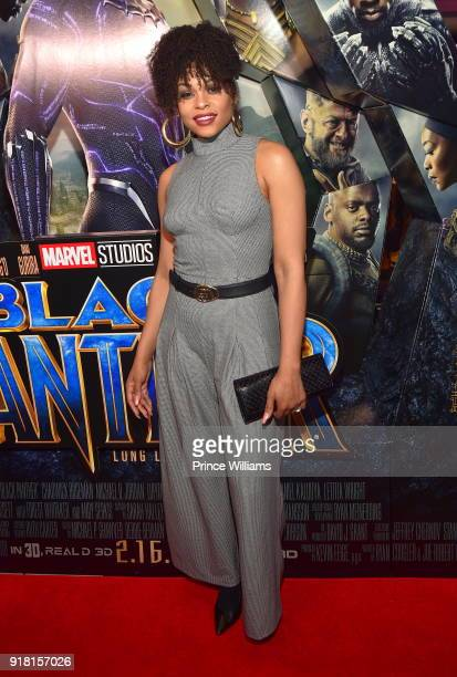 Demetria Mckinney attends 'Black Panther' advance Screeing at Regal Hollywood on February 13 2018 in Chamblee Georgia