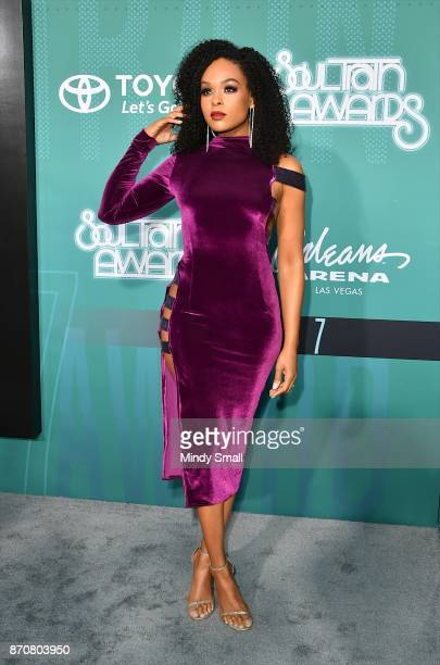 Demetria McKinney attends the 2017 Soul Train Music Awards at the Orleans Arena on November 5 2017 in Las Vegas Nevada