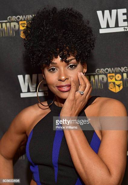 """Demetria McKinney attends the ATL Premiere of WE Tv's """"Growing Up Hip Hop"""" at SCADshow on January 5, 2016 in Atlanta, Georgia."""