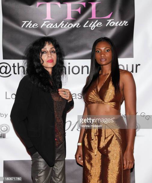 Demetria Ruggiero and Adria Aziz attend Los Angeles Fashion Week powered by The Society at Union Station on October 11 2019 in Los Angeles California