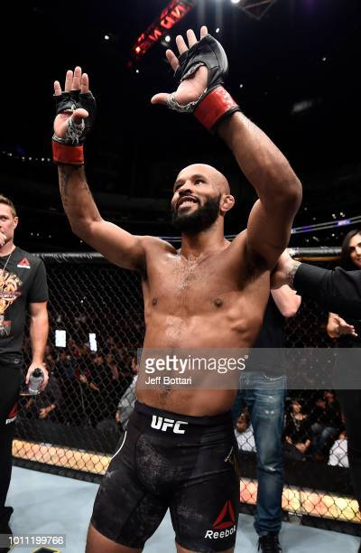 Demetrious Johnson acknowledges the crowd after his splitdecision loss to Henry Cejudo in their UFC flyweight championship fight during the UFC 227...
