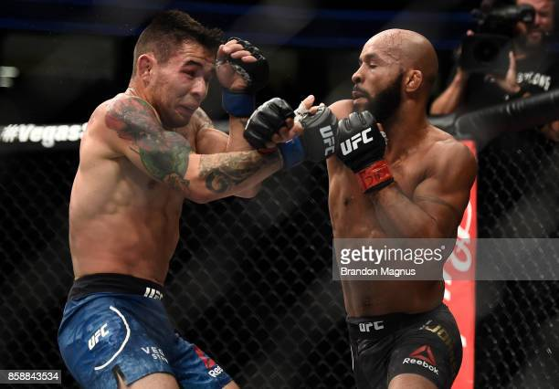 Demetrious Johnson punches Ray Borg in their UFC flyweight championship bout during the UFC 216 event inside TMobile Arena on October 7 2017 in Las...