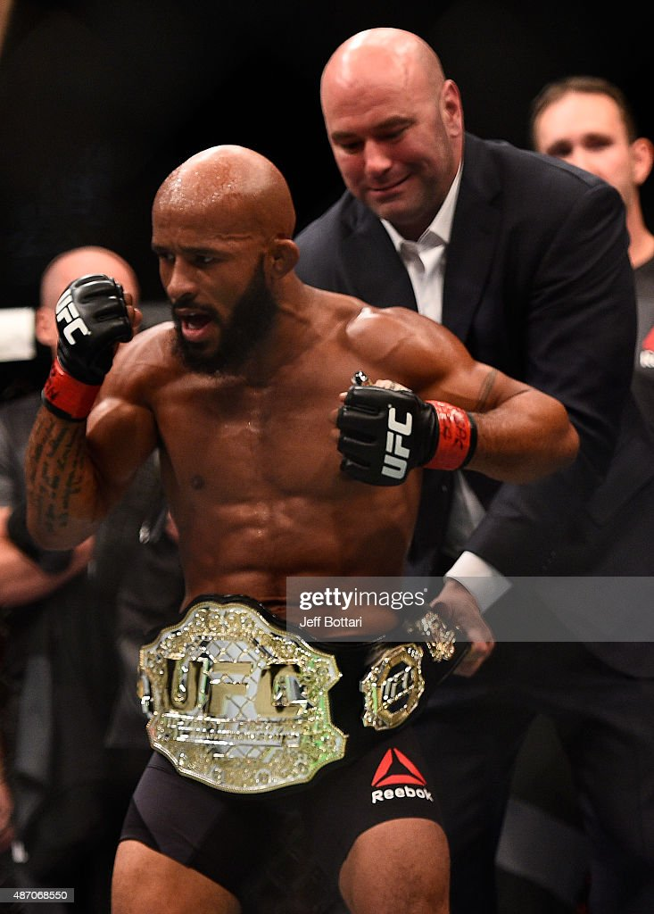 Demetrious Johnson reacts after his victory over John Dodson in their flyweight championship bout during the UFC 191 event inside MGM Grand Garden Arena on September 5, 2015 in Las Vegas, Nevada.