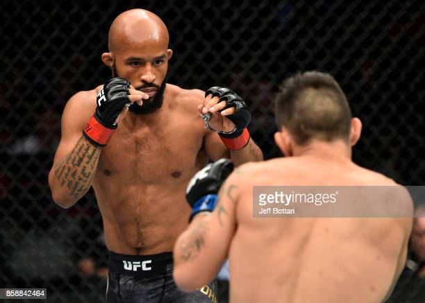 Demetrious Johnson squares off with Ray Borg in their UFC flyweight championship bout during the UFC 216 event inside TMobile Arena on October 7 2017...