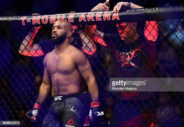 Demetrious Johnson stands in the Octagon prior to his UFC flyweight championship bout against Ray Borg during the UFC 216 event inside TMobile Arena...