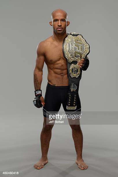 Demetrious Mighty Mouse Johnson poses for a portrait during a UFC photo session on June 11 2014 in Vancouver British Columbia Canada