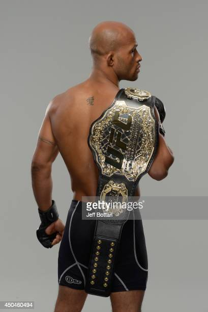 Demetrious 'Mighty Mouse' Johnson poses for a portrait during a UFC photo session on June 11 2014 in Vancouver British Columbia Canada