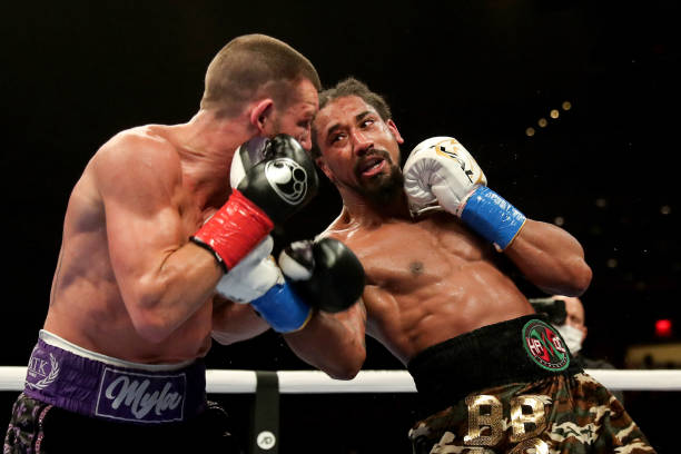 Demetrius Andrade punches Liam Williams during the WBO Middleweight Championship fight at Seminole Hard Rock Hotel & Casino on April 17, 2021 in...