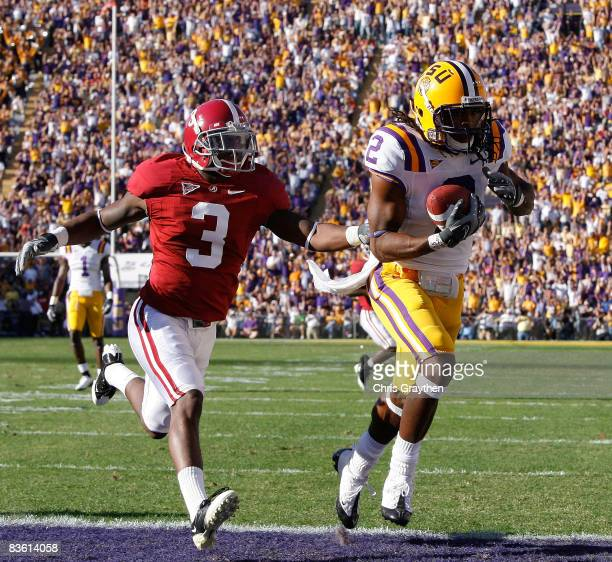 Demetrius Byrd of the Louisiana State University Tigers scores a touchdown against Kareem Jackson of the Alabama Crimson Tide on November 11 2008 at...
