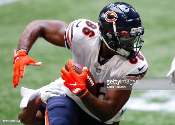 Demetrius Harris of the Chicago Bears turns upfield after the reception during the second half of an NFL game against the Atlanta Falcons at...