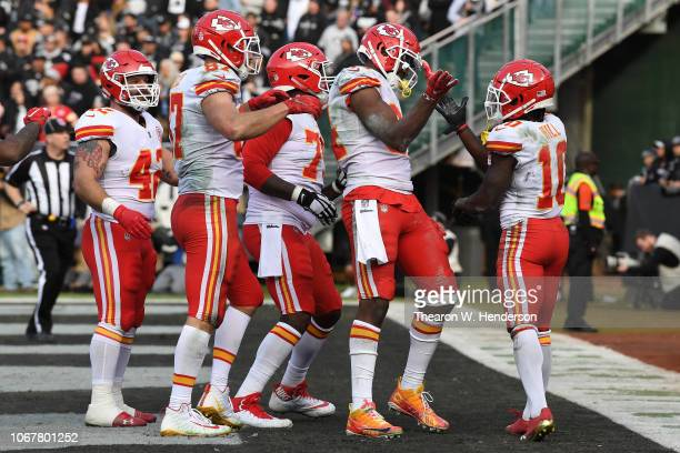 Demetrius Harris of the Kansas City Chiefs celebrates after scoring against the Oakland Raiders during their NFL game at OaklandAlameda County...