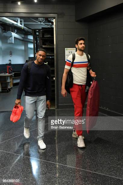 Demetrius Jackson and Furkan Korkmaz of the Philadelphia 76ers arrives to the arena prior to Game Two of Round Two of the 2018 NBA Playoffs against...