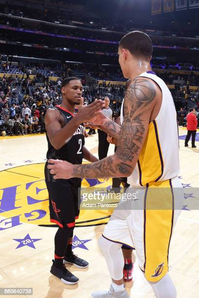 Demetrius Jackson of the Houston Rockets shakes hands with Kyle Kuzma of the Los Angeles Lakers after the game on December 3 2017 at STAPLES Center...