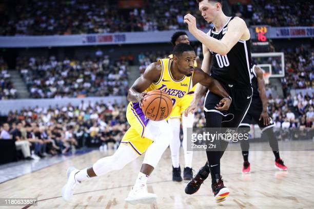 Demetrius Jackson of the Los Angeles Lakers in action during the match against Rodions Kurucs of the Brooklyn Nets during a preseason game as part of...