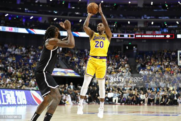 Demetrius Jackson of the Los Angeles Lakers shoots the ball against the Brooklyn Nets during a preseason game as part of 2019 NBA Global Games China...