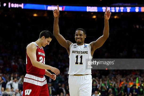 Demetrius Jackson of the Notre Dame Fighting Irish celebrates late in the second half against the Wisconsin Badgers during the 2016 NCAA Men's...